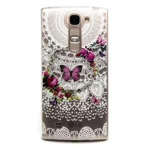 Embossed TPU Cover for LG Magna H502F H500F / G4c H525N - Butterfly and Flowers Garland
