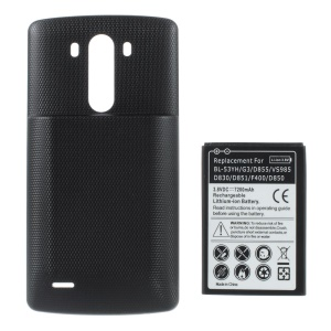 Replacement 7200mAh Extended Battery + Battery Door Cover for LG G3 D850 D855 LS990 - Black