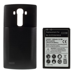 6500mAh High Capacity Extended Battery + Back Door Cover for LG G4 H818 - Black