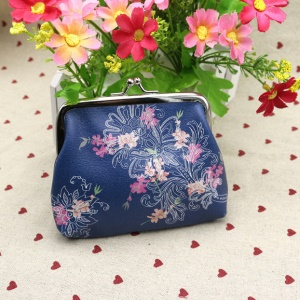 Classic Style Pattern Printing Exquisite PU Leather Wallet Buckle Coin Purse - Blooming Flowers