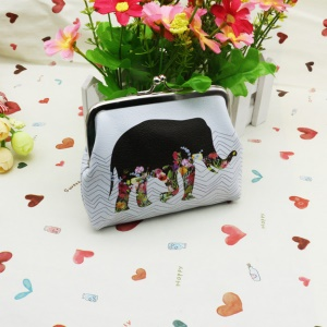 Classic Style Exquisite Patterned Leather Clasp Closure Coin Pouch Mini Wallet - Floral Elephant