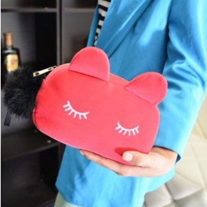 Coin Purses Wallet Cute Cat Head Handbag Change Bags - Black and White Cat - Pink