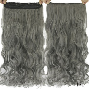 Light Grey / Straight,Lady's Synthetic Long Clip in Hair Extensions Half Full Head One Piece Hairpiece - Dark Grey / Curly