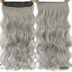 Long One Piece Clip in Hair Extensions Seamless Synthetic Hairpiece for Women - Light Grey / Curly