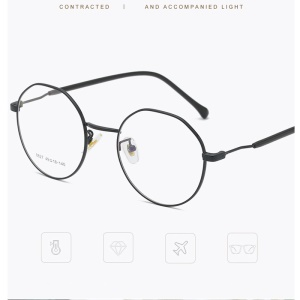 Retro Vintage Style Plain Glasses with Metal Frame Fashion Glasses for Men and Women - All Black