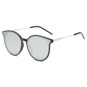 Vintage Round Women Sunglasses UV400 - Black / Silver