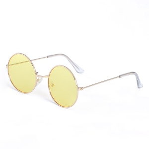 Fashionable UV400 Round Sunglasses with Metal Frame for Women - Yellow