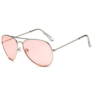 Trendy Women Aviator Sunglasses with Metal Frame - Pink