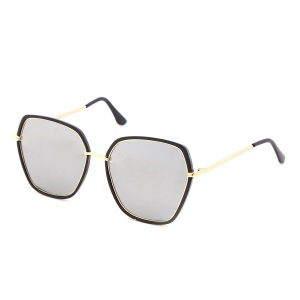 Women Round Oversize Sunglasses Anti-glare UV Protection Sunglasses - Silver