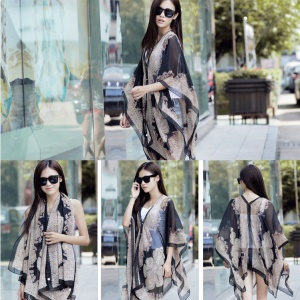 Women's Cashew Flowers Summer Tops Summer Sunscreen Chiffon Beach Scarf Cover Ups - Black
