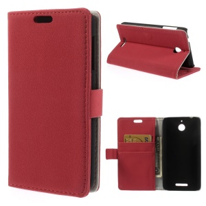 Pebble Grain PU Leather Wallet Cover with Stand for HTC Desire 510 - Red
