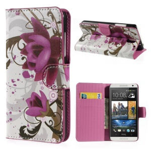 Elegant Lotus Wallet Leather Stand Cover for HTC Desire 610