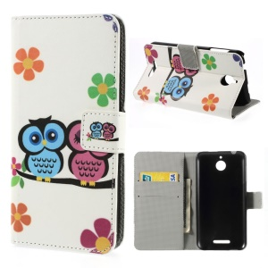 Two Owls & Flowers Magnetic Leather Stand Cover for HTC Desire 510