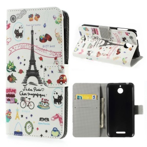 Eiffel Tower & Fruits Leather Stand Case w/ Card Slots for HTC Desire 510
