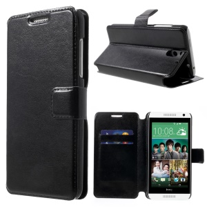 Crazy Horse Leather Stand Case w/ Card Slots for HTC Desire 610 - Black