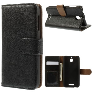 Litchi Skin PU Leather Wallet Case with Stand for HTC Desire 510 - Black