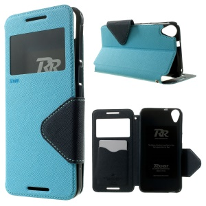 ROAR KOREA Diary View Window for HTC Desire 820 / 820 Dual SIM Leather Case Cover w/ Stand - Baby Blue