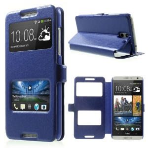 Silk Texture Dual View Windows Leather Flip Cover for HTC Desire 610 w/ Stand - Blue