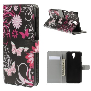 Butterfly Flowers Leather Cover for HTC Desire 620 Dual Sim / 820 Mini D820mu