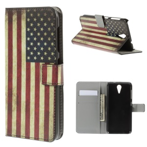 Vintage American Flag Leather Stand Cover for HTC Desire 620 Dual Sim / 820 Mini D820mu