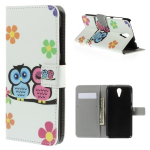 Two Owls & Flowers Leather Case Stand for HTC Desire 620 Dual Sim / 820 Mini D820mu