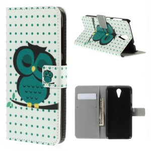 Wallet Leather Stand Case for HTC Desire 620 Dual Sim / 820 Mini D820mu - Sleeping Owl on the Branch