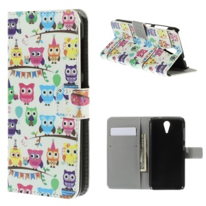 Multiple Owls Leather Card Holder Case for HTC Desire 620 Dual Sim / 820 Mini D820mu