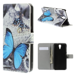 Blue Butterfly Leather Cover for HTC Desire 620 Dual Sim / 820 Mini D820mu