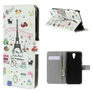 Leather Magnetic Case with Card Slots for HTC Desire 620 Dual Sim / 820 Mini D820mu - Eiffel Tower & Fruits
