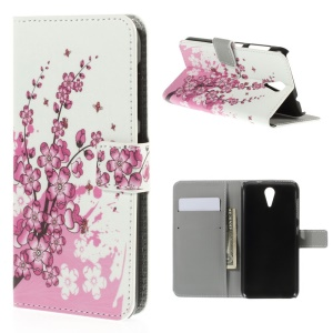 Wintersweet Pattern PU Leather Case for HTC Desire 620 Dual Sim / 820 Mini D820mu
