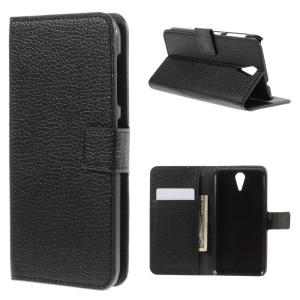 Litchi Skin Leather Wallet Case for HTC Desire 620 Dual Sim / 820 Mini D820mu - Black