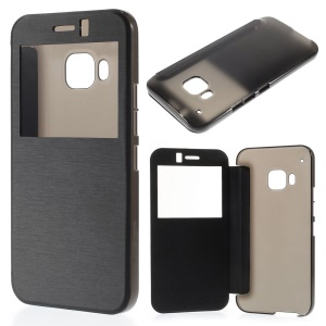 Window View Brushed Leather Folio Case for HTC One M9 - Black
