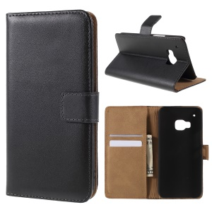 Genuine Leather Wallet Cover Stand for HTC One M9 - Black
