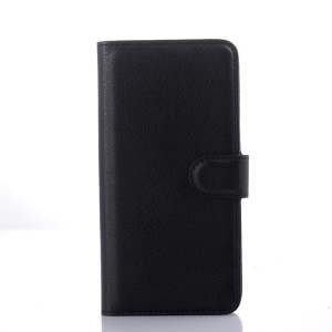 Litchi Grain Leather Case with Card Cash Holder for HTC Desire 626 - Black