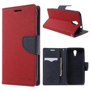 Mercury GOOSPERY Fancy Diary Wallet Leather Cover for HTC Desire 620 Dual Sim / 620G Dual Sim with Stand - Red