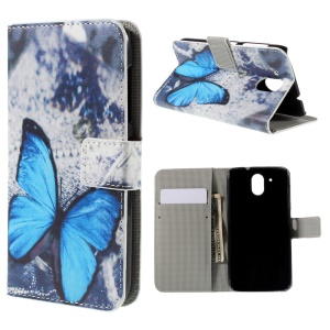 Leather Card Holder Cover for HTC Desire 526G+ Dual Sim with Stand - Blue Butterfly