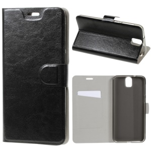 Crazy Horse Card Holder Leather Cover for HTC One E9 Plus - Black