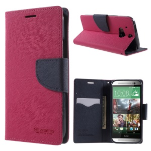 NEWSETS MERCURY for HTC One M8 Cross Texture Stand PU Leather Case - Blue / Rose
