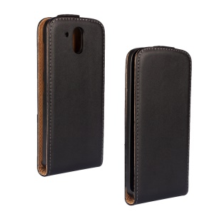 Vertical Flip Genuine Split Leather Case for HTC Desire 526 G+ Dual SIM - Black