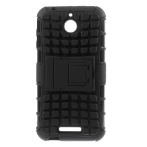 Anti-slip PC and TPU Hybrid Case for HTC Desire 510 / A11 with Kickstand - Black