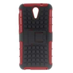 Rugged Design PC and TPU Shell for HTC Desire 620 Dual Sim / 820 Mini D820mu with Kickstand - Red