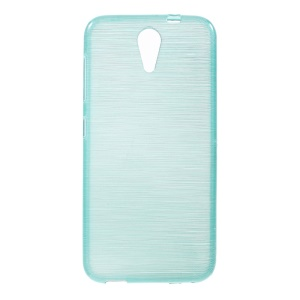 Glossy Outer Brushed Inner TPU Gel Cover for HTC Desire 620 Dual Sim / 620G Dual Sim - Blue