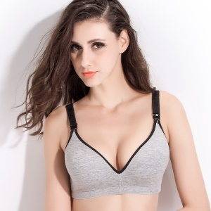 Maternity Breast Feeding Bra Anti-Sagging Wire Free Bra for Pregnant Women - Grey / Cup Size: 75B