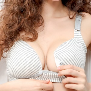 Maternity Breastfeeding Bra Front Open Button Bra for Pregnant Women - Grey Stripes / Cup Size: 75B