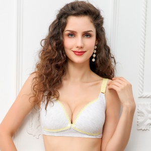 Wirefree Maternity Breastfeeding Bra Front Open Button Bra for Pregnant Women - Yellow+White / Cup Size: 75B