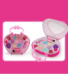 Girls Cosmetics Box Washable Pretend Kids Makeup Gifts Set Makeup Case Toy