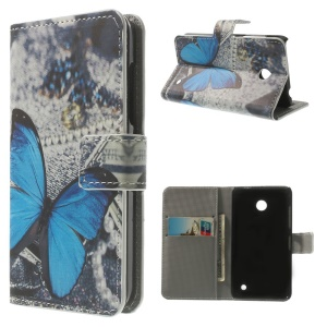 PU Leather Flip Wallet Cover for Nokia Lumia 630 / 630 Dual SIM RM-978 - Blue Butterfly