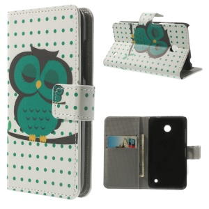 Leather Wallet Folio Case for Nokia Lumia 630 / 630 Dual SIM RM-978 - Green Owl Sleeping