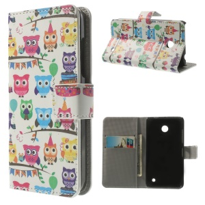 Leather Wallet Folio Case for Nokia Lumia 630 / 630 Dual SIM RM-978 - Colorful Mini Owls