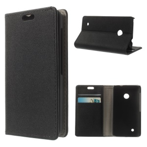 Sand-like Texture Leather Stand Case w/ Card Slots for Nokia Lumia 530 RM-1017 RM-1019 - Black
